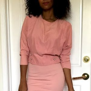 Vintage Holiday Pink Button down blouse